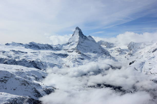 View of the Matterhorn from the Rothorn summit station. Swiss Alps, Valais, Switzerland. stock photo