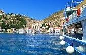 A view of the Megisti (Kastellorizo) island harbor in Greece.