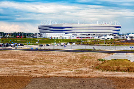 View of the modern Kaliningrad football stadium (also called Arena Baltika) for holding games of the FIFA World Cup of 2018 in Russia.