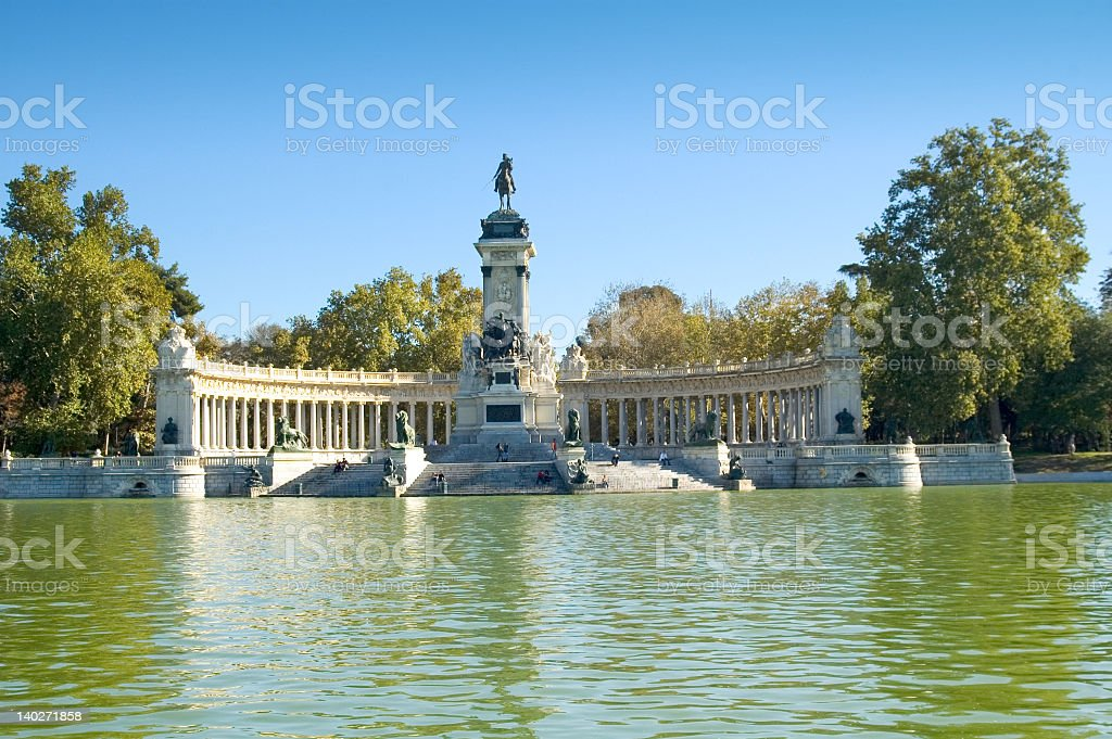 A view of the monument at Parque del Retiro in Madrid stock photo