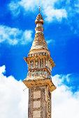 View of the Mosaic Pillar of the Pagoda against the Beautiful Sky in Bagan, Myanmar. Vertical