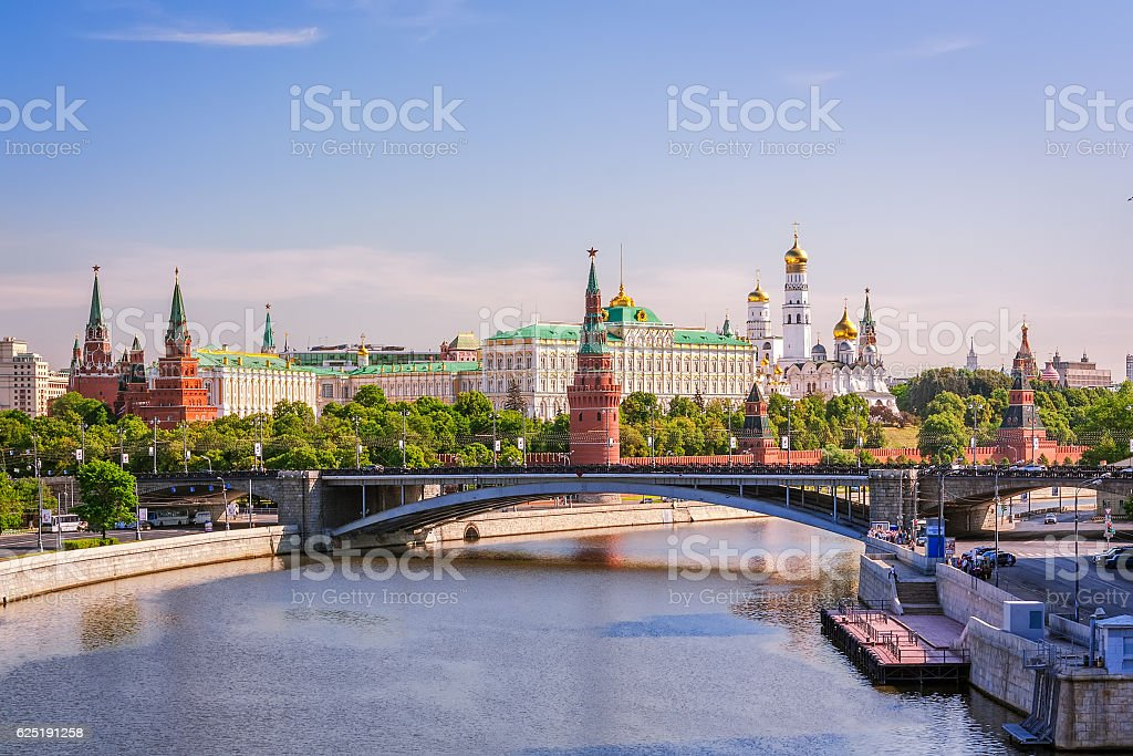 View of the Moscow Kremlin with Big Stone Bridge stock photo