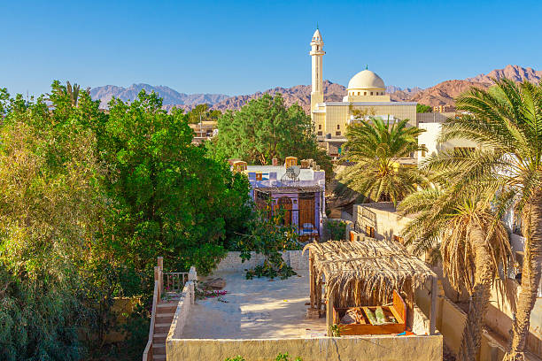 View of the mosque and the houses stock photo