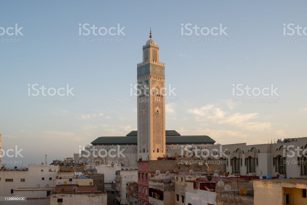 A view of the Mosquée Hassan II early in the morning stock photo