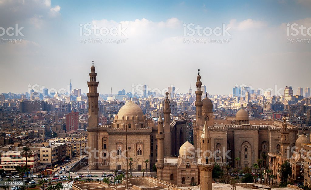 View of the Mosques of Sultan Hassan and Al-Rifai stock photo