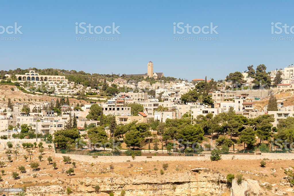 View of the Mount of Olives in Jerusalem and Bethlehem stock photo