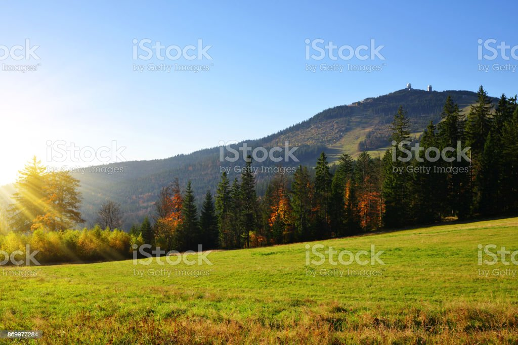 View of the mountain peak Grosser Arber, Germany, Europe. stock photo