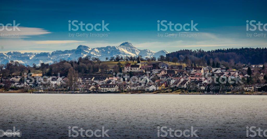 Blick auf den Berg Säntis über dem Bodensee – Foto