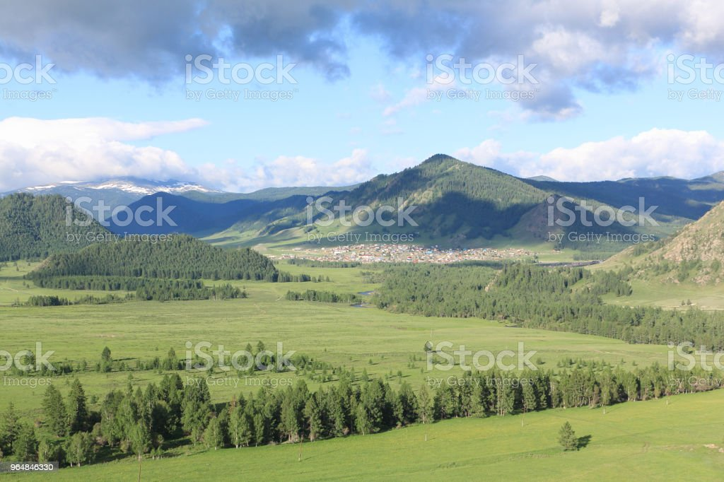View of the mountain village of Elo, Ongudaysky district, Altai, Russia royalty-free stock photo