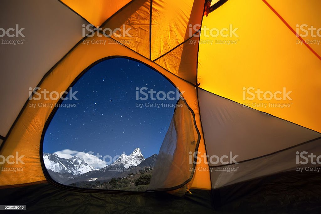 View of the mountains from a tourist tent stock photo