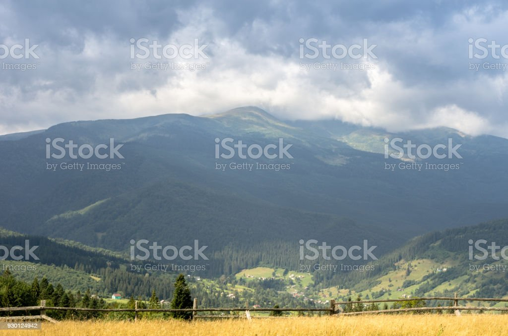 View of the mountains with a front background. stock photo