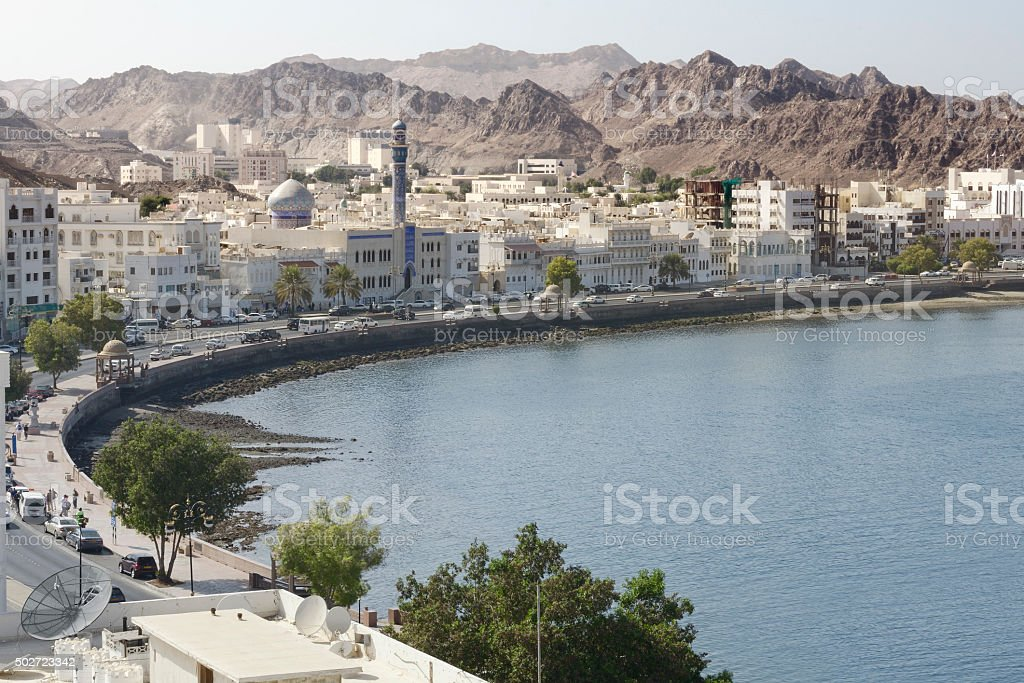View of the Muscat's old town, Muttrah, Oman stock photo