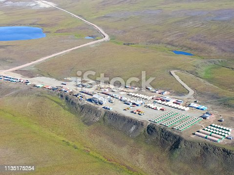 View of the nature and villages of Chukotka from the height of the helicopter.