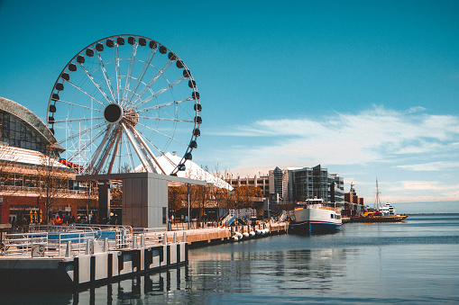 Vintage color photography of the Navy's pier Centennial Wheel of fortune, an iconic part of the Chicago skyline.