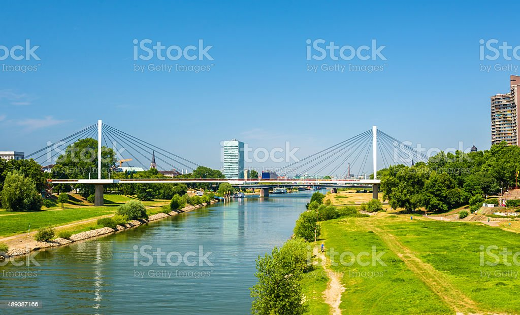 View of the Neckar river in Mannheim - Germany stock photo