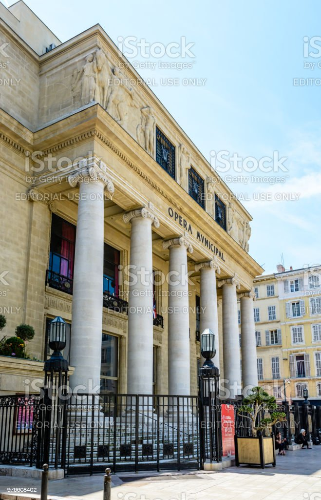 View of the neoclassical and Art Deco style facade of the municipal opera of Marseille. stock photo