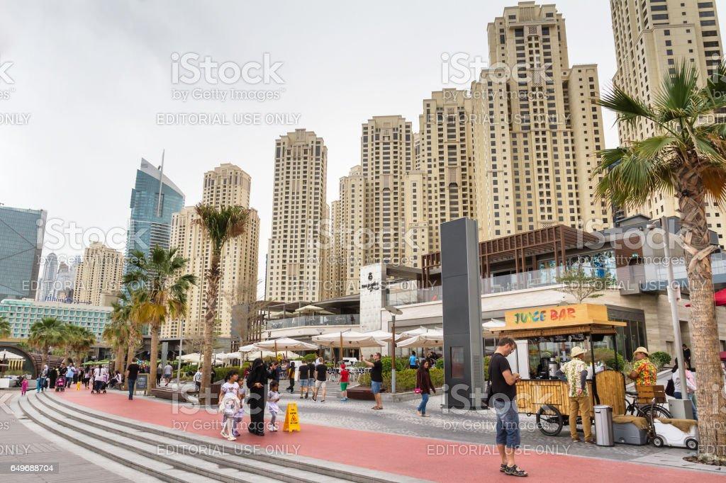 View of the new promenade on Dubai Marina stock photo