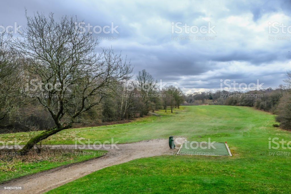 View of the next hole on a golf course, looking down from the tee off point stock photo