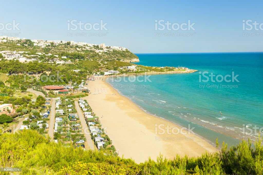 Apulia, Italy -  May 28 - 2017. View of the nice beach in Peschici stock photo