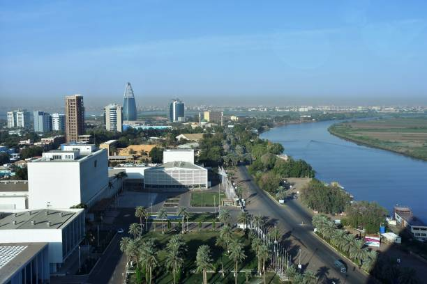 view of the nile and tuti island - sudan stock photos and pictures