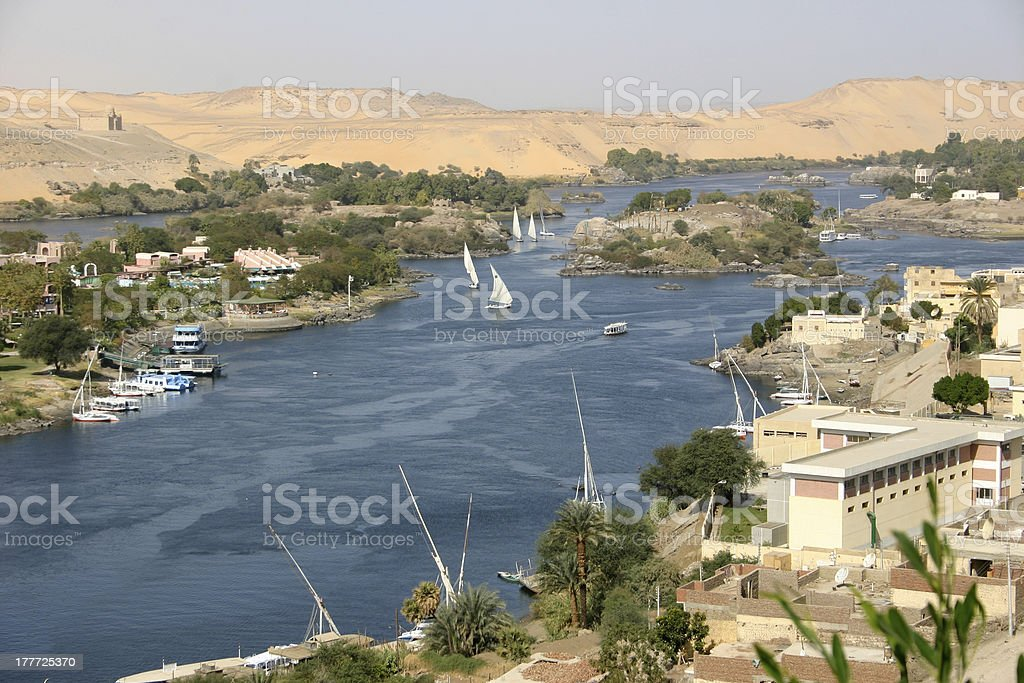 View of the Nile from Aswan royalty-free stock photo