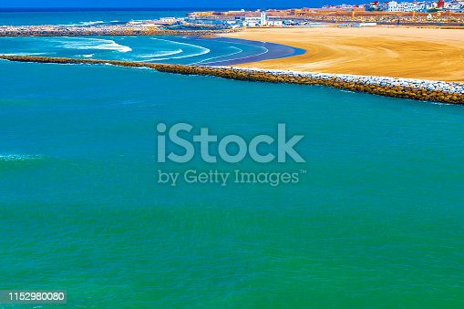 istock View of the ocean and the breakwaters that separate the mouth of the Bou Regreg river from the Atlantic Ocean. Rabat, Morocco. 1152980080