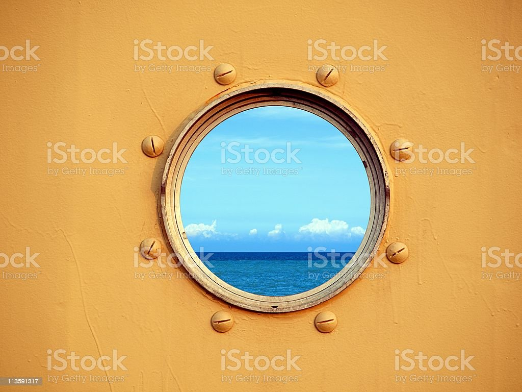 View of the Ocean through a Porthole stock photo