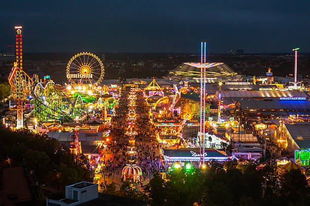 view of the oktoberfest in munich at night. - münchen bildbanksfoton och bilder