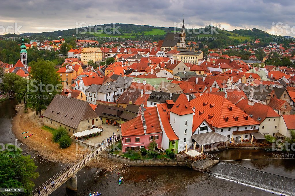 View of the old Bohemian city Cesky Krumlov stock photo