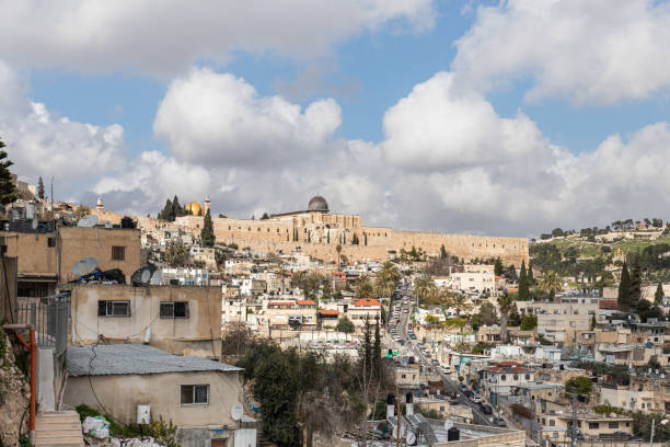 View of the old city of Jerusalem and the Temple Mount from the Abu Tor district of Jerusalem city in Israel Jerusalem, Israel, February 29, 2020 : View of the old city of Jerusalem and the Temple Mount from the Abu Tor district of Jerusalem city in Israel east jerusalem stock pictures, royalty-free photos & images
