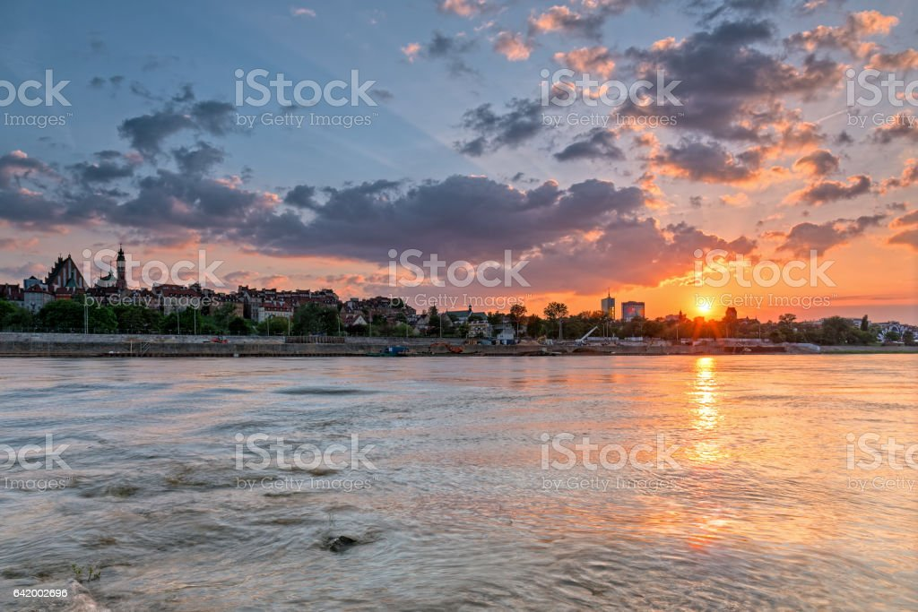 View of the old city of Warsaw from the river stock photo