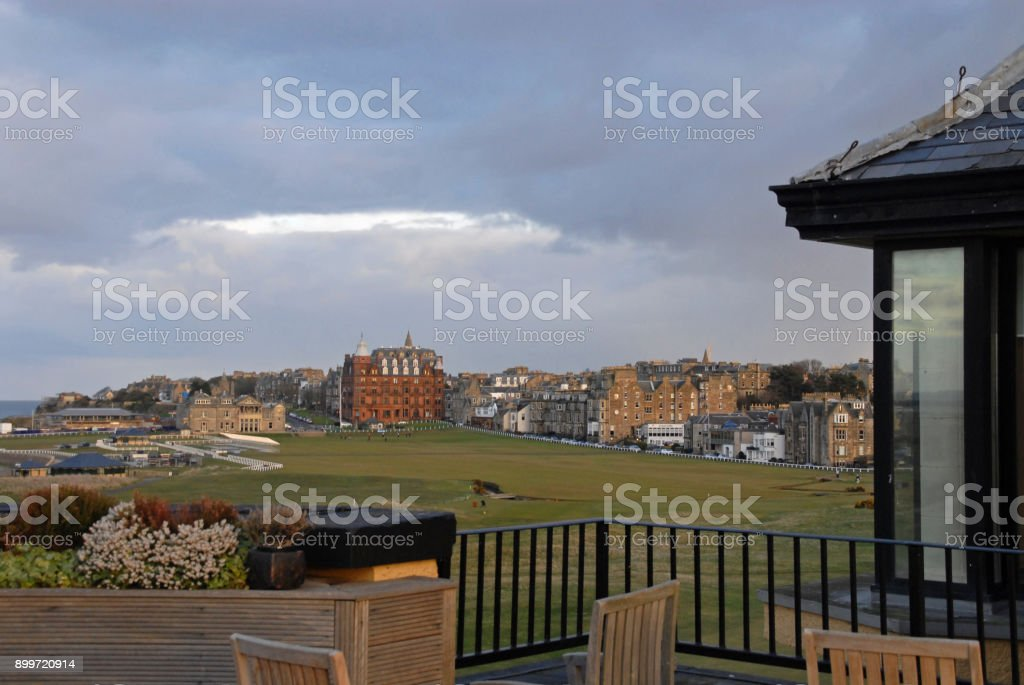 View of the Old Course from the Old Course Hotel stock photo