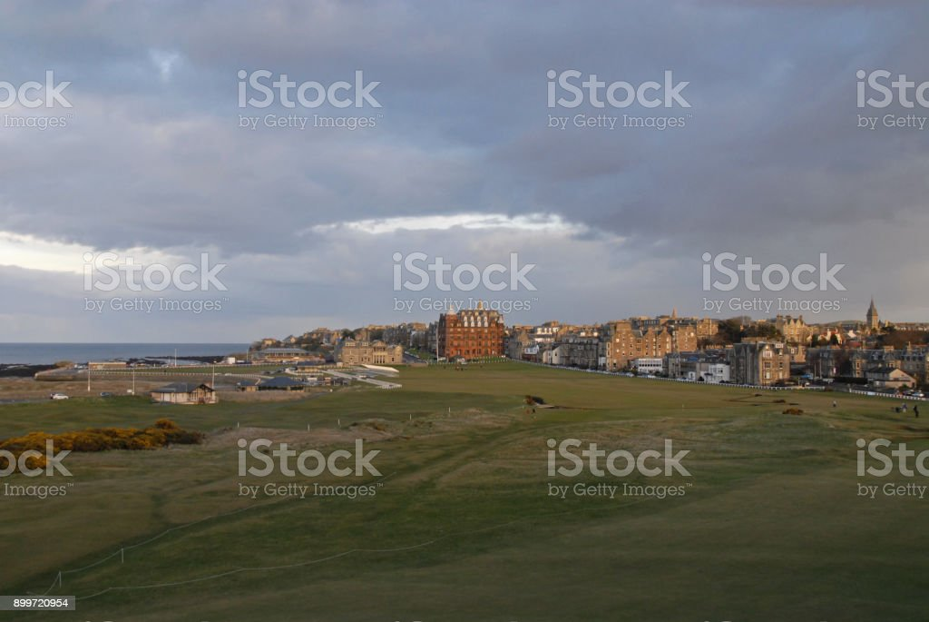 View of the Old Course in St. Andrews stock photo