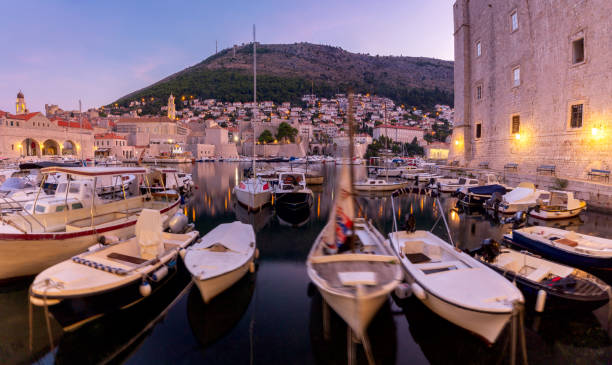 View of the old harbor and the city Dubrovnik in the morning. stock photo