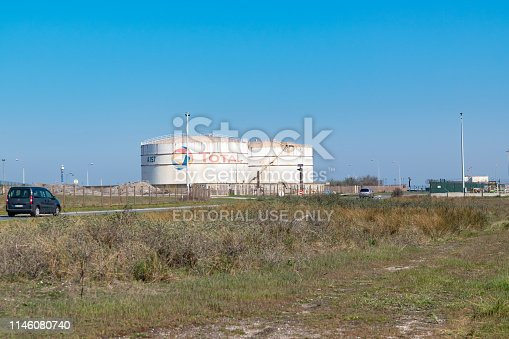 Dunkirk,FRANCE-April 20,2019: view of the old oil refinery Total in Dunkirk, currently transformed into BIO fuel production.Total it is French oil and gas company.