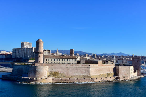 View Of The Old Port And Fort Saint Jean In Marseille, France. stock photo