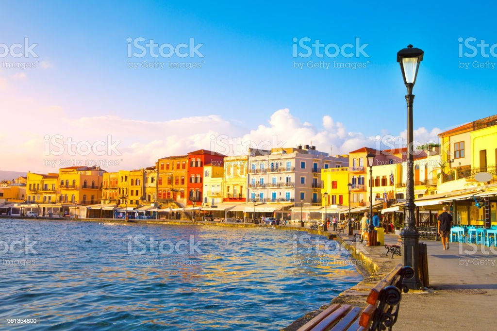 View Of The Old Port Of Chania Crete Island Greece Stock Photo Download Image Now
