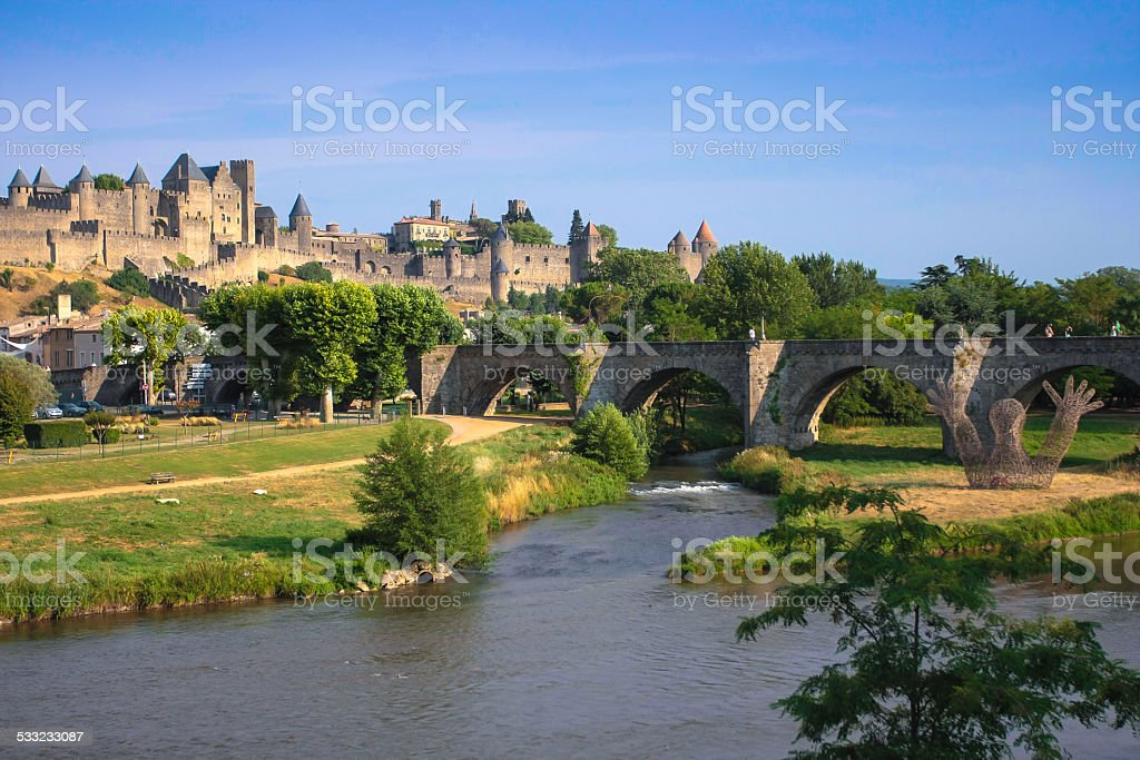 View of the old town Carcassonne, Southern France. stock photo