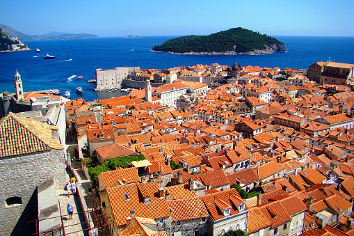 View of the old town, harbor and Lokrum Island from the Minčeta tower