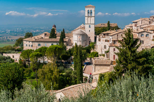 View of the old town in Assisi, Umbria, Italy stock photo