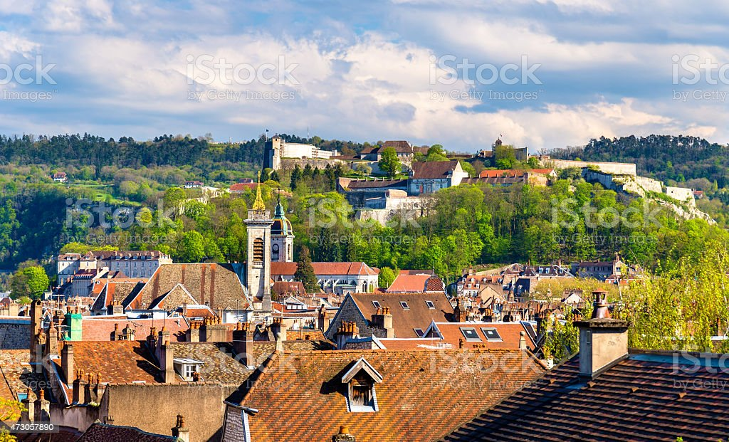 View of the old town of Besancon - France, Doubs stock photo