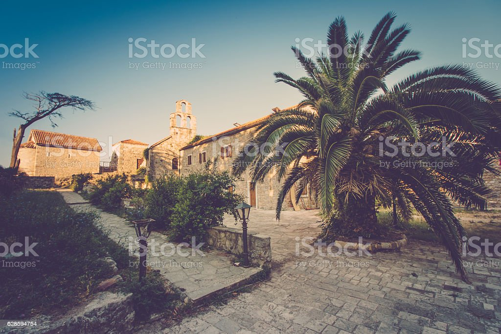 View of the old town of Budva in summertime. Montenegro. stock photo