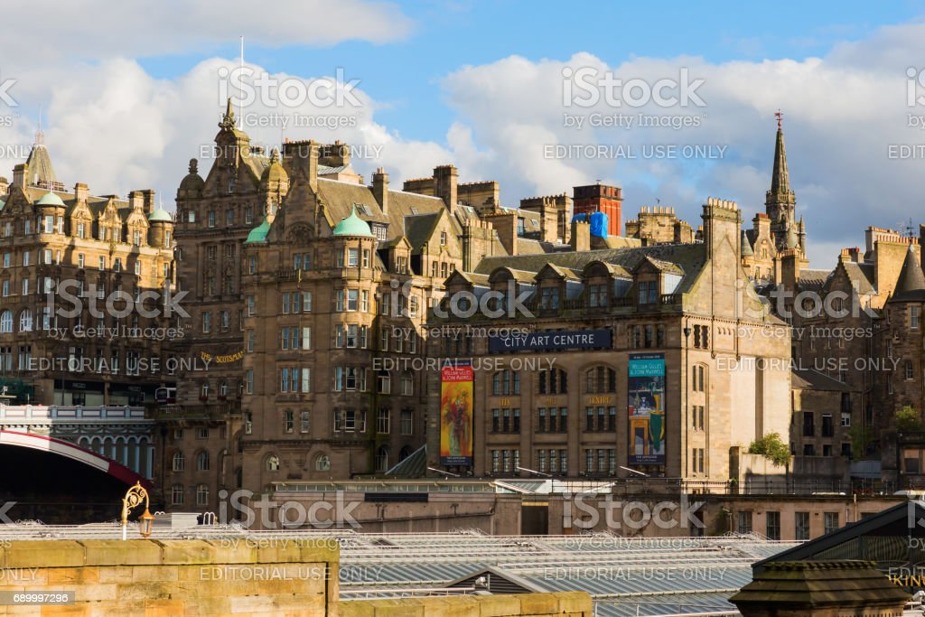 view of the old town of Edinburgh, UK stock photo