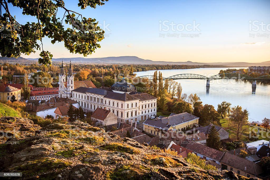 View of the old town of Esztergom stock photo