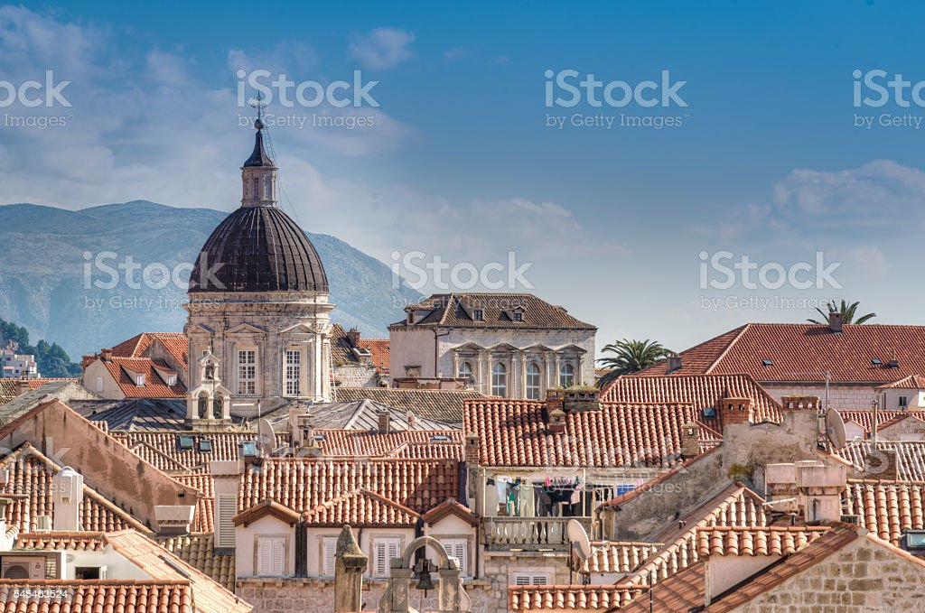 View of the old walled city of Dubrovnik, Croatia stock photo