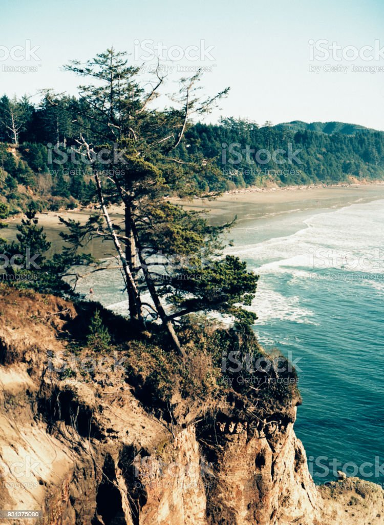 View of the Oregon Coast and ocean from above stock photo