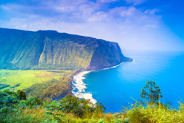View of the outcrop and ocean Waipio valley lookout on Big Island, Hawaii big island hawaii islands stock pictures, royalty-free photos & images