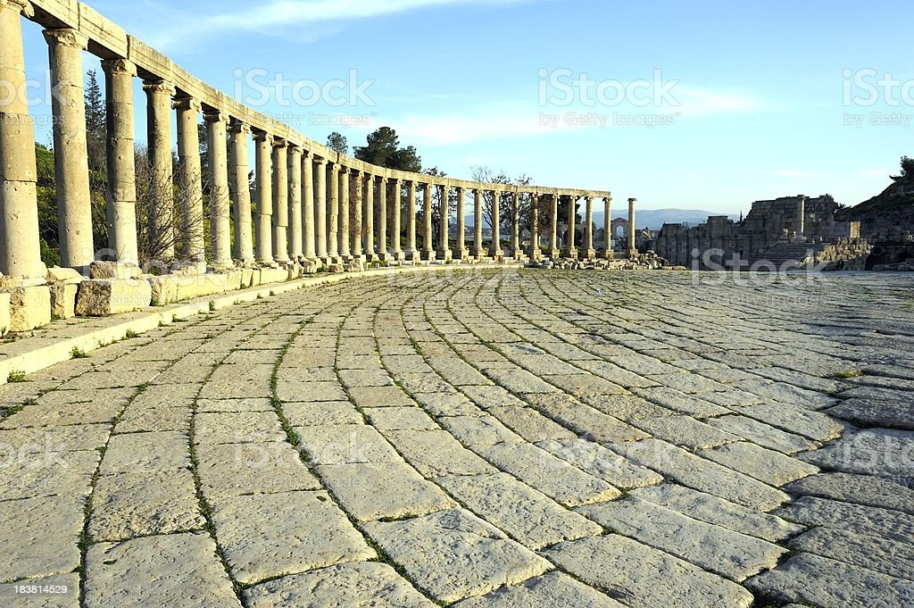 View of the oval square in Jerash. Jordan royalty-free stock photo