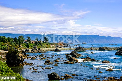Crescent City, CA, USA - July 12, 2015: View of  the Pacific coast in the upper northwestern part of California, about 20 miles south of the Oregon border