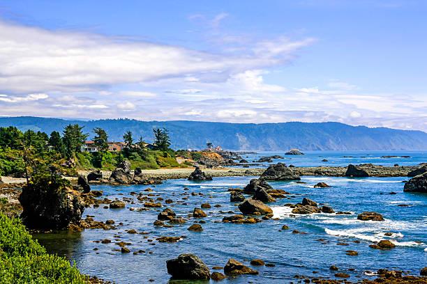 View of the Pacific coastline at Crescent City, California stock photo